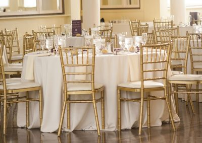 gold chiavari chair setup